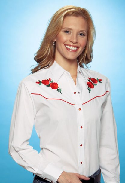 Bluse red Roses Front