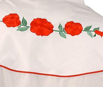 Bluse red Roses Details